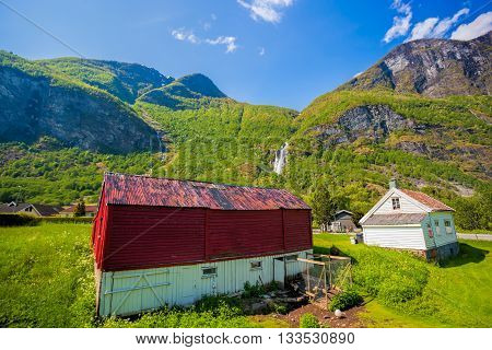 Flam Village With Colorful Houses In Norway