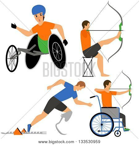 Disabled People in sport competition. Archers and sprinter, byking man. Vector flat cartoon illustration