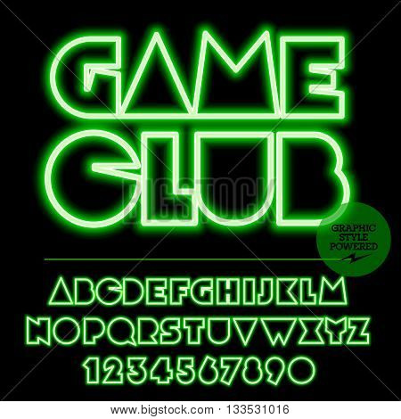 Neon bright set of alphabet letters, numbers and punctuation symbols. Vector light up green logo with text Game club