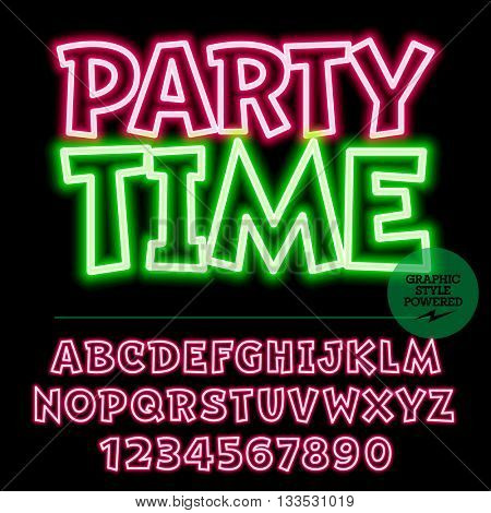 Neon bright set of alphabet letters, numbers and punctuation symbols. Vector light up colorful icon with text Party time