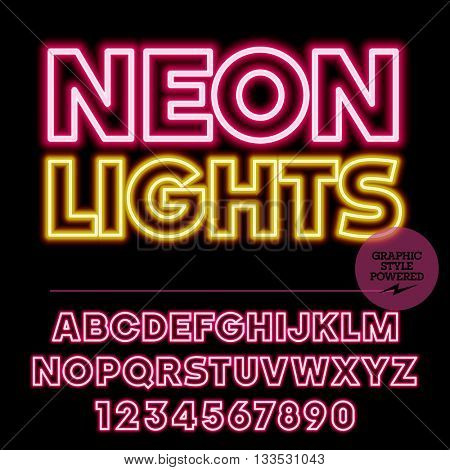 Neon bright set of alphabet letters, numbers and punctuation symbols. Vector light up colorful logotype with text Neon lights