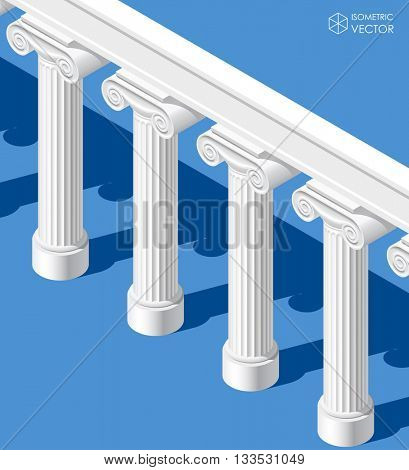 Isometric white classic ancient colonnade on blue background. Vector illustration