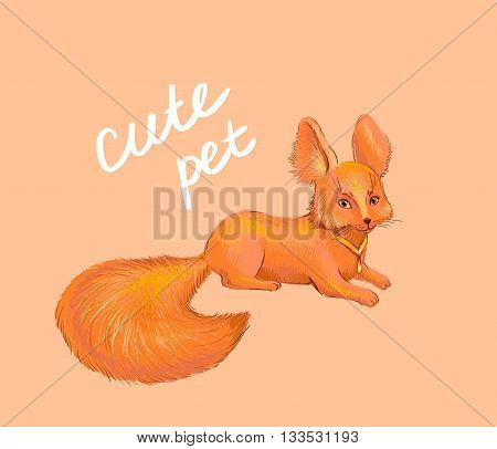 Cute fox. Hand drawn pet suitable for print on children clothes such as t-shirt cap schoolbag... Suit for decoration nursary notebook stationery and other children's products. Funny animal friend of child looking to the viewer. No transparency vector illu