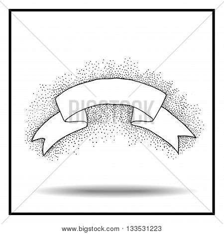 Vintage ribbon. Hand drawn vector illustration. Isolated on white background. Black and white ribbon. Pointillism style. Pointillism ribbon.