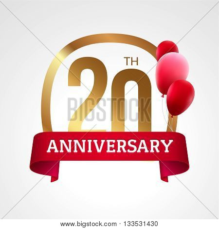 Celebrating 20th years anniversary golden label with ribbon and balloons, vector template.
