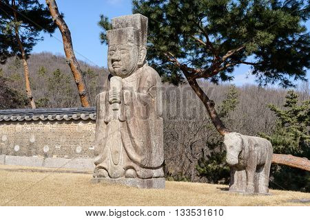 Stone civil official at the royal tomb of the Joseon dynasty (1392-1910) at Gangneung royal tomb Nowon District Seoul South Korea