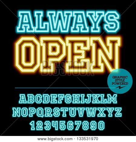 Neon bright set of alphabet letters, numbers and punctuation symbols. Vector light up colorful sign with text Always open