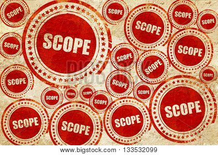 scope, red stamp on a grunge paper texture