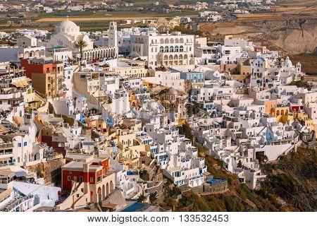 Fira, modern capital of the Greek Aegean island, Santorini, in the summer day, Greece