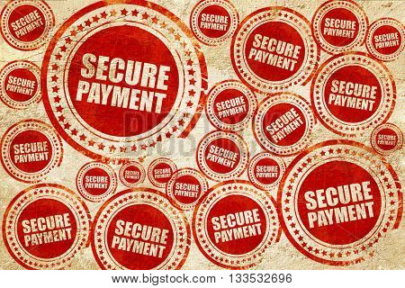 secure payment, red stamp on a grunge paper texture