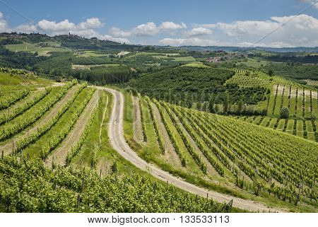 Ceretto Winery with vineyards and hills in Piedmont Italy.