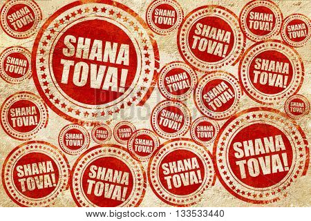 shana tova, red stamp on a grunge paper texture