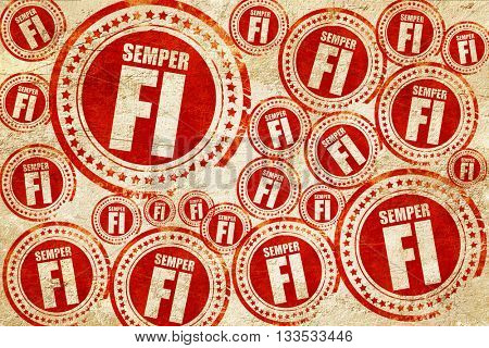 Semper fi, red stamp on a grunge paper texture