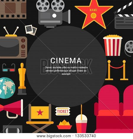 Cinema Concept. Flat Style Vector Illustration with Place for Text. Movie Theater Cinematic Award Movie Premiere
