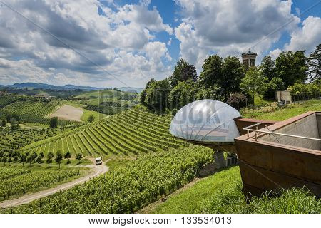 Alba Italy - May 30 2016: Ceretto Winery with view point vineyards and hills in Piedmont Italy.
