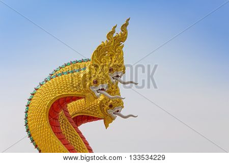 king of Nagas, serpent statue. Temple in Thailand