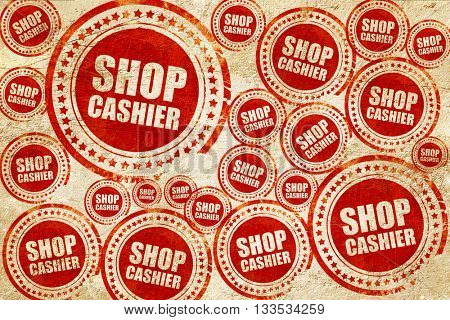 shop cashier, red stamp on a grunge paper texture