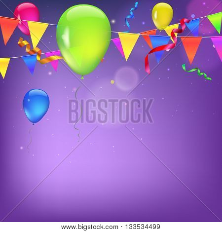 Background with flags, garlands, streamers and balloons for your presentation.