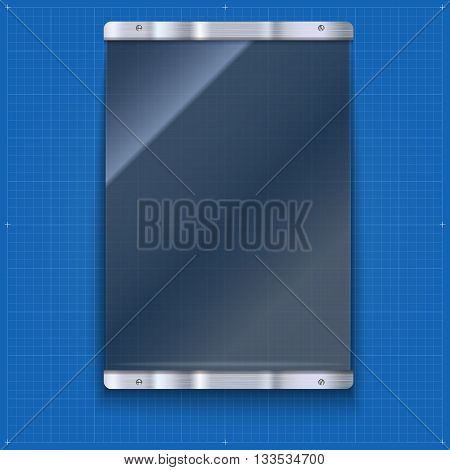 Glass plate with metal frame and bolts on the blueprint background. Banner of glass and metal frame with reflexes. Technological background for your design