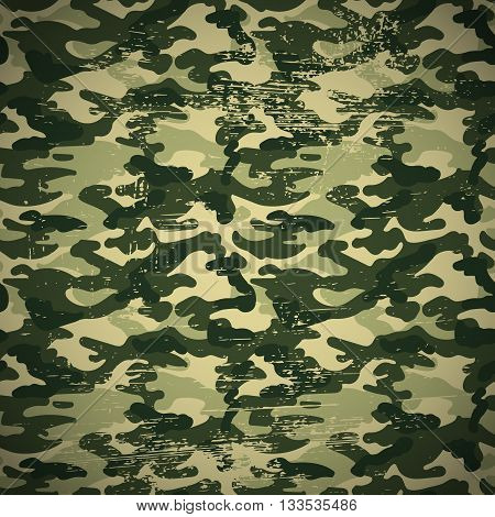 Military camouflage pattern with grunge effect, green colors, vector