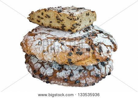 image of bread with raisins isolated on white background