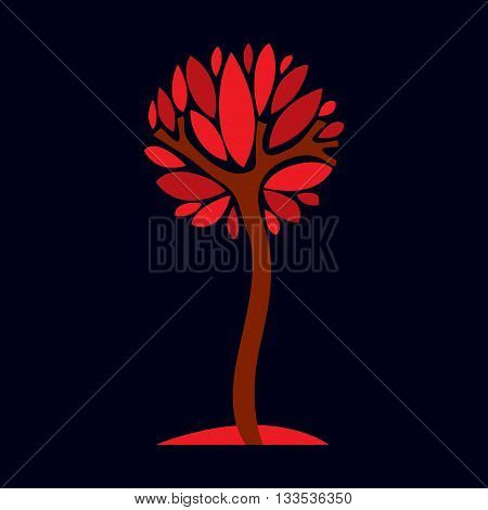 Artistic  Illustration Of Autumn Branchy Tree With Red Leaves, Stylized Eco Symbol. Graphic Design V