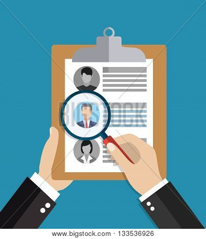 Searching professional staff. Analyzing personnel resume. Recruitment, concept of human resources management. CV application. Selecting staff. vector illustration in flat design