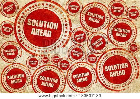 solution ahead, red stamp on a grunge paper texture