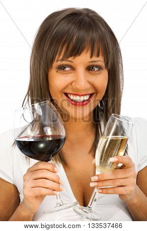 Young woman comparing two glassed of red and white wine isolated on white background looking away and smiling