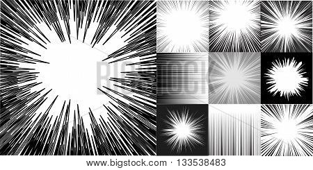 manga comic book speed horizontal lines background set of ten editable images with radial and horizontal beams.