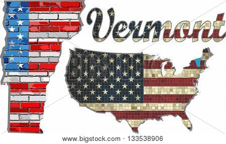 USA state of Vermont on a brick wall - Illustration, The flag of the state of Vermont on brick textured background,  Font with the United States flag,  Vermont map on a brick wall
