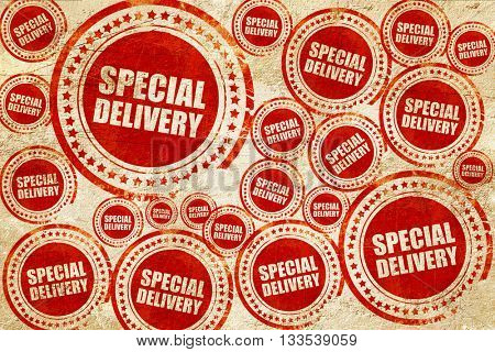 special delivery, red stamp on a grunge paper texture