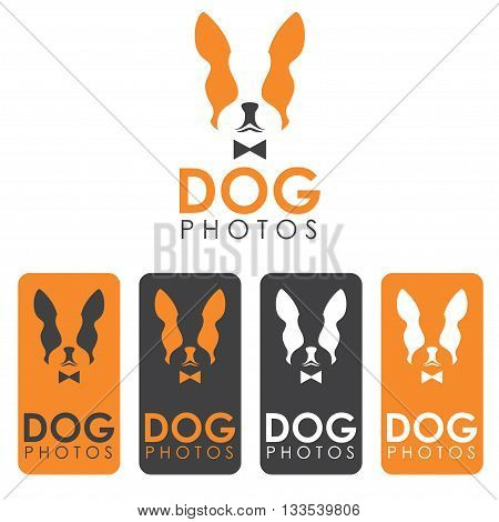 Creative Flat Design Cards With Negative Space Concept Of  Bulldog