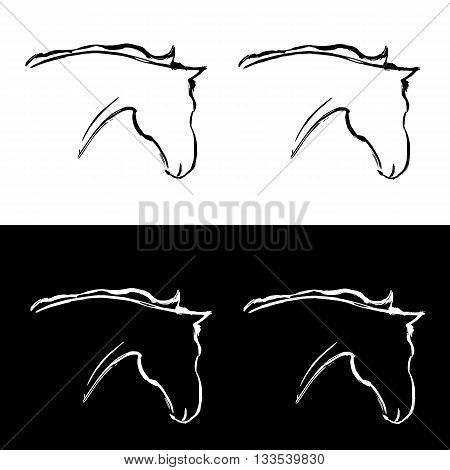 Freehand horse logo. More and less detailed versions. Head of the horse painted with ink. Grunge animal illustration isolated on white. Stylized vector ink horse