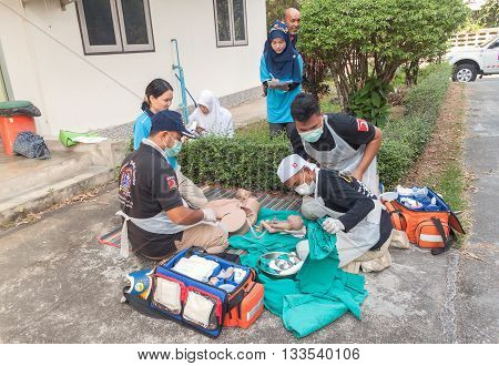 YALA THAILAND - April 21 : The refresher training to assist in emergency rescue situations the midwife Training devoted to the of first aid. traffic accident. in Yala southern Thailand. on April 21 2016