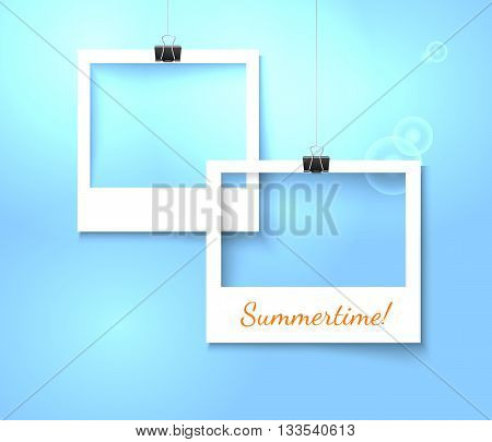 Paper photo frames composition. Vector template with photo frames on bright blue background for summer design. Photo frames realistic vector illustration. Art gallary template with photo frame