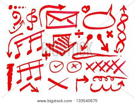 Red pen drawn marks on white background