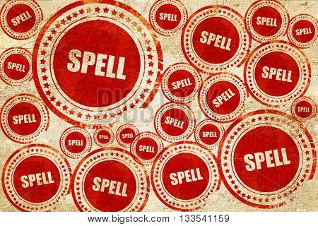 spell, red stamp on a grunge paper texture