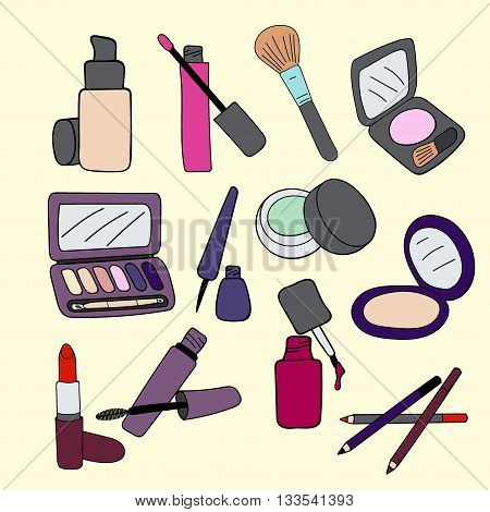 Set of makeup cosmetics products, vector illustration