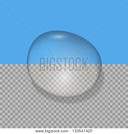 Water drop on blue and transparent backgrounds