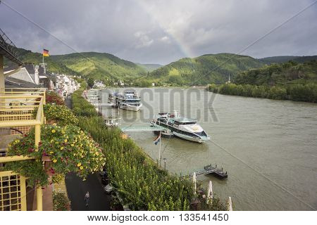 BOPPARD, GERMANY, 8 AUGUST 2014 - Boats moored up on the river Rhine at Boppard Germany