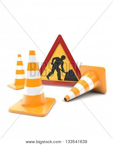 Road works traffic cones and sign isolated with clipping path on white. 3d rendering