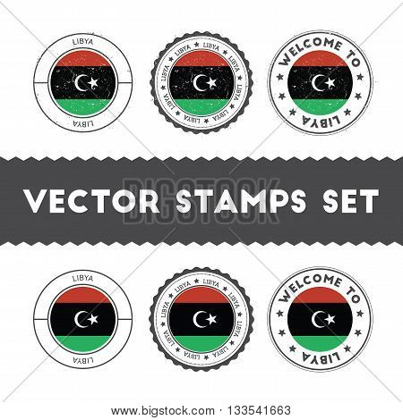 Libyan Flag Rubber Stamps Set. National Flags Grunge Stamps. Country Round Badges Collection.