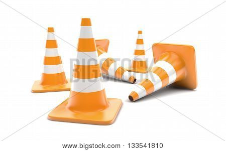 Traffic cones isolated on white. 3d rendering