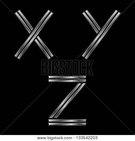 XYZ letters. Silver metal alphabet, metallic font
