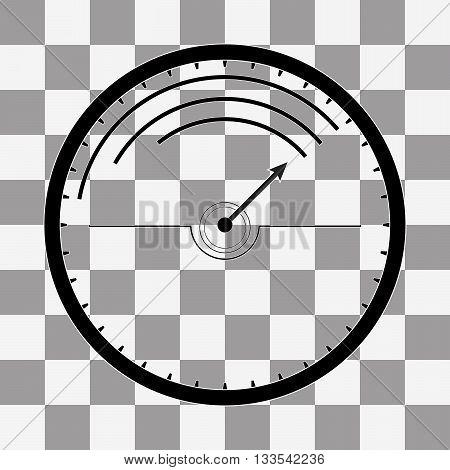 Vector Black Speedometer icon on transparent background