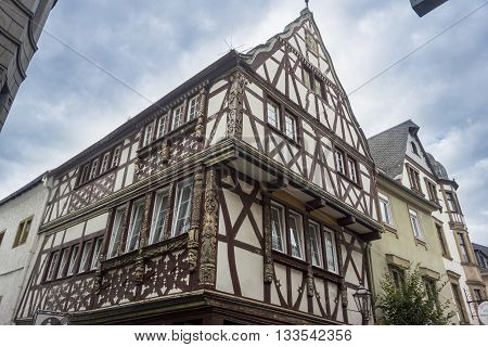 Half timbered building with ornately carved timbers Boppard on the Rhine Germany