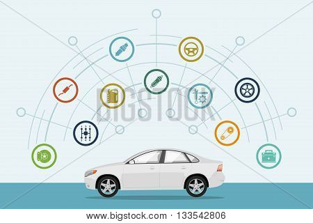 infographic template with car and car parts icons service and repair concept flat style illustration