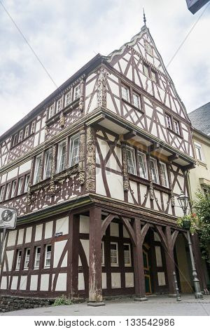 BOPPARD, GERMANY, 9 AUGUST 2014 - Half timbered building with ornately carved timbers Boppard on the Rhine Germany