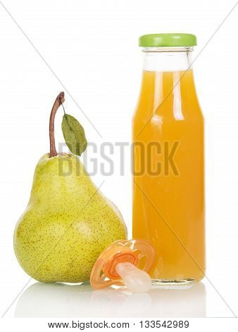 A bottle of juice, pear and pacifier isolated on white background.
